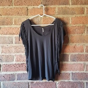 """Free People Tops - FREE PEOPLE Gray """"Fantasy Fringe"""" Top Size XS"""